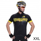 RUSUOO R10002 Men's  Fashionable Cooldry Short Sleeve Cycling Blazer  - Black + Yellow (XXL)
