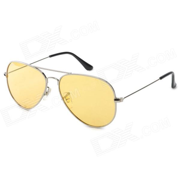 OREKA 3025 UV400 Protection Night Vision Polarized Driving Glasses - Silver + Yellow kano y9105 zinc alloy frame resin lens polarized night vision driving glasses black