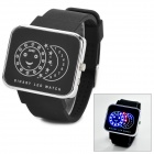 SKMEI 0982 Resin Dial Zinc Alloy Case Rubber Band Digital LED Wrist Watch - Black