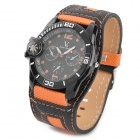 Canvas Band Analog Quartz Wrist Watch for Men - Orange + Black
