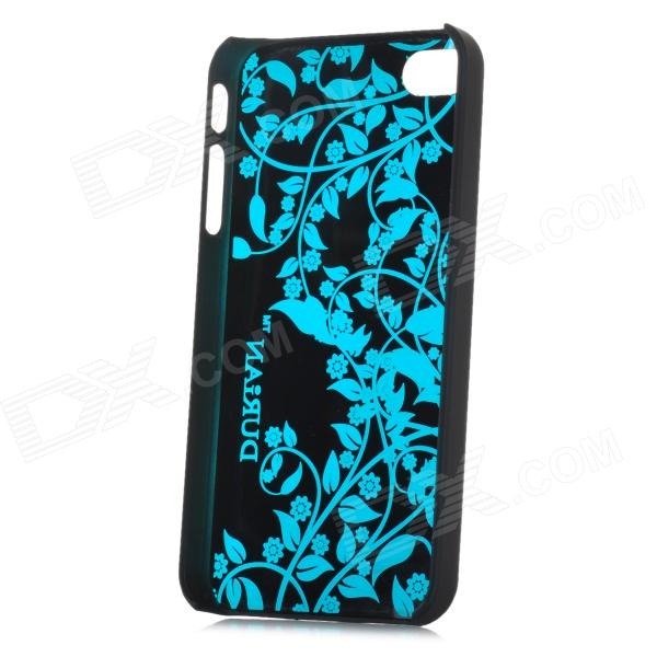 DURIAN Protective PC Plastic Case for Iphone 4 / 4S - Blue + Black water drops style protective plastic back case for iphone 4 blue