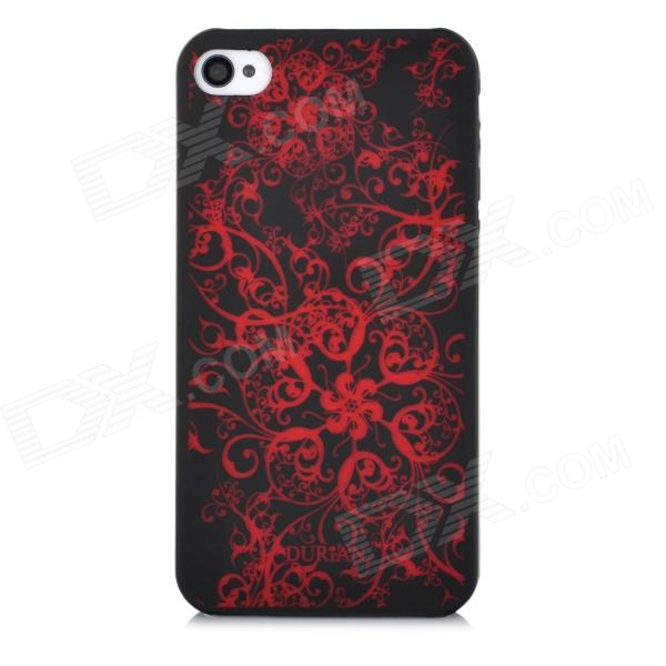 DURIAN Protective PC Plastic Case for Iphone 4 / 4S - Black + Red cool skeleton style protective pc back case for iphone 4 4s white red black