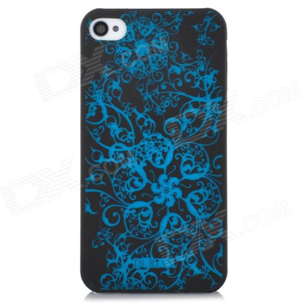 DURIAN Protective PC Plastic Case for Iphone 4 / 4S - Black + Blue