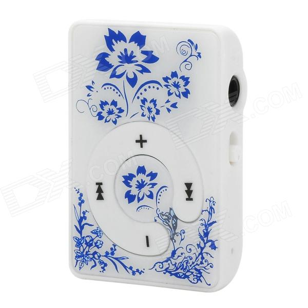 Portable Clip-On MP3 Media Player w/ TF / Earphones - White + Blue