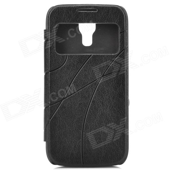 Protective PU Leather + PC Back Case for Samsung Galaxy S4 Mini - Black dynamic 3d skull pattern protective back case for samsung galaxy s4 i9500 black