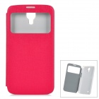 Protective PU Leather Case w/ Display Window for Samsung Galaxy Mega 6.3 i9200 - Deep Pink