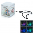 C-36 TF Card Mini Portable Speaker w/ FM + Colored LED Lantern - White + Silver (16GB Max.)