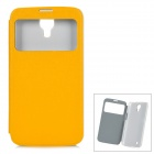 Protective PU Leather Case w/ Display Window for Samsung Galaxy Mega 6.3 i9200 - Yellow