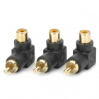 Gold Plated RCA Male to RCA Female Right Angle Extension Adapter - Black + Golden (3 PCS)