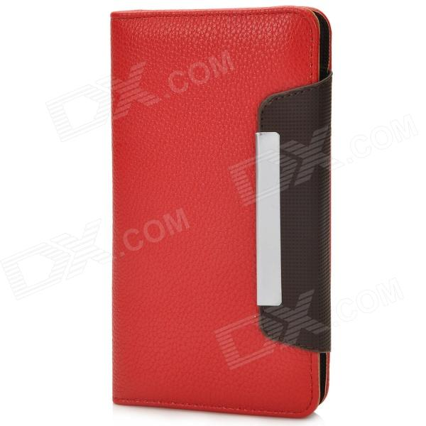 i-6.0-RD Protective PU Case w/ Strap for Samsung i9152 / i9200 / Galaxy Mega 5.8~6.0 - Red + Coffee i 6 0 br protective pu case w strap for 5 8 6 0 samsung i9152 i9200 galaxy mega brown