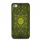 DURIAN Translucent Tracery Pattern Protective PC Back Case for Iphone 4 - Black + Green