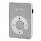 Portable Clip-on MP3 Player / TF / Earphones - White + Silver
