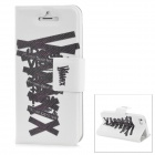 Shoelace Style Protective PU Leather + TPU Case for iPhone 5 - White + Black