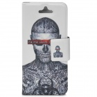 XY Painting Skull Tattoo Pattern Protective PU Leather Case w/ Stand for iPhone 5 - White