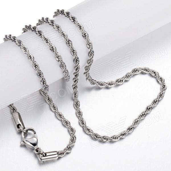 eQute CSS19S4 3.5mm Titanium Steel Chain Necklace - Silver (20