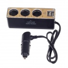 WF-037 1-to-3 Car Cigarette Lighter Power Splitter Adapter w/ Dual-USB Output - Black + Golden