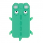 Cute Crocodile Style Protective Silicone Back Case for Iphone 4 / 4S - Green + White + Black