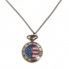 Stylish American Flag Pattern Style Women's Necklace Analog Quartz Pocket Watch - Bronze (1 x 377S)