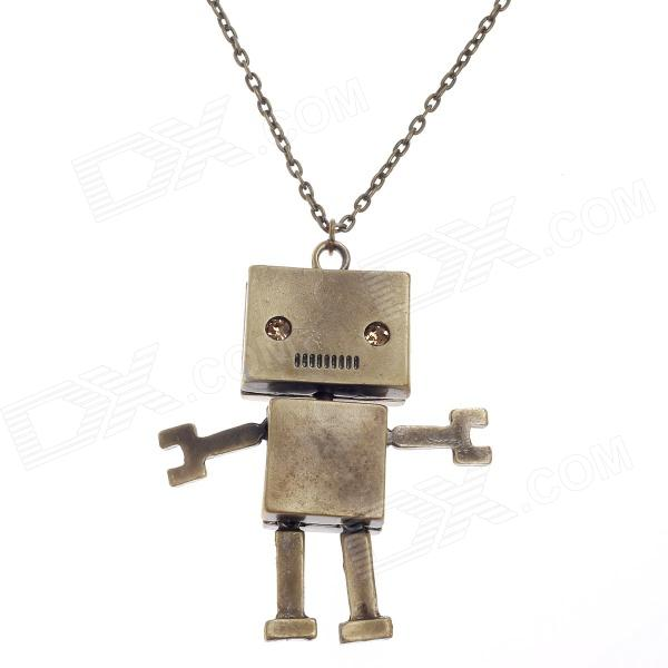 Retro Robot Style Pendant Long Necklace - Bronze old antique bronze doctor who theme quartz pendant pocket watch with chain necklace free shipping