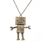 Retro Robot Style Pendant Long Necklace - Bronze
