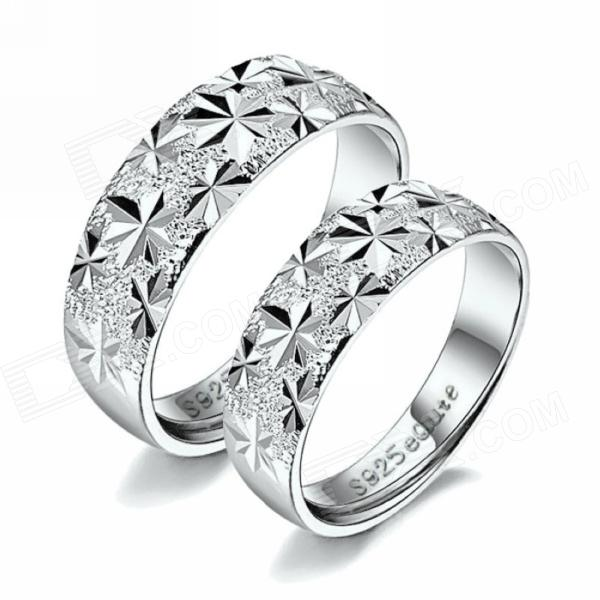 eQute RSIC1COOH1 S925 Pure Silver Couple's Ring - Silver (Free Size / Pair) 100pcs lot 3mm 3 mm 3 17mm 3 17 mm rc prop propeller protector saver include rubber band o ring o ring free shipping