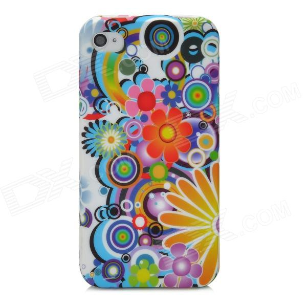 Painting Pattern Protective Flip-open TPU Case for Iphone 4 / 4S - Multicolored