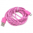 USB 2.0 to Micro 5pin Data / Charging Cable for Samsung N7100 / i9300 / V8 - Pink (300cm)