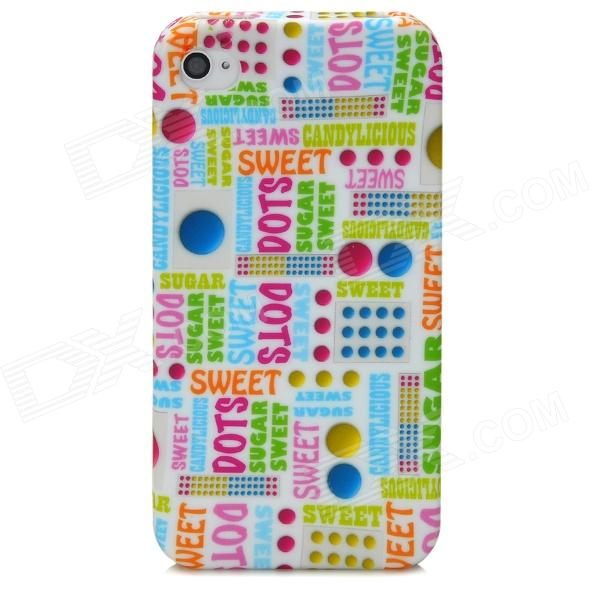 Painting Letters Pattern Protective TPU Case for Iphone 4 / 4S - Multicolored stylish bubble pattern protective silicone abs back case front frame case for iphone 4 4s