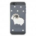 Sheep Pattern w/ Rhinestones Protective Plastic Back Case for Iphone 5 - Transparent + White