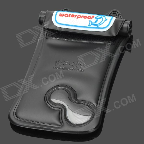 WP-i10 Waterproof Protective Plastic Case w/ Strap for Iphone 4 / 4S / 5 - Black roswheel tpu waterproof bicycle mobile phone bag w plastic case for iphone 4 4s light coffee