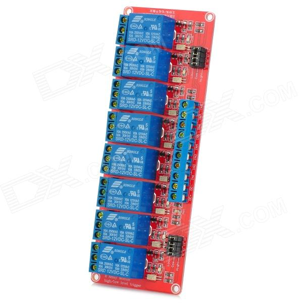 цена на 8-Channel 12V Relay Module W/ Optocoupler for Arduino - Red + Blue
