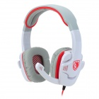 SADES SA708 Gaming Headphones w/ Microphone - White + Grey + Red (3.5mm Plug / 220cm-Cable)