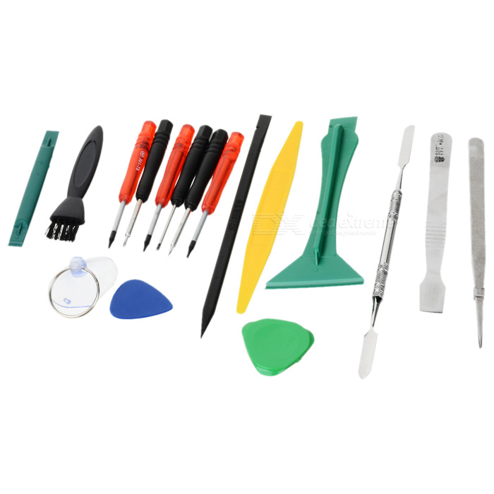 BEST BST-602 17-in-1 Professional Repairing Tool Kit for Iphone / Ipad / HTC + More - MulticoloredRepair Tools<br>ModelBSTQuantity1MaterialPlasticCompatible ModelsiPhoneScrew DriverTorxPacking List6 x Screwdrivers2 x Triangle picks1 x Suction cup1 x Tweezers1 x Scraper1 x Pry batch1 x Brush1 x Traingle pry batch1 x Plastic crowbar1 x Stainless crowbar1 x Sharp bar<br>