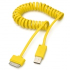 Flat Spring 30-Pin Male to USB 2.0 Male Data Sync / Charging Cable for iPhone 4 / 4S - Yellow