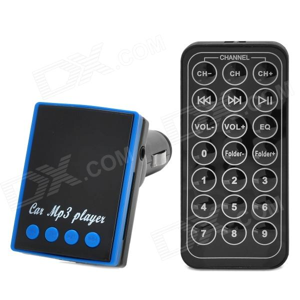 "CQ-006 1.2"" LED Car FM Transmitter / MP3 Player w/ TF / SD / USB + Remote Controller - Black + Blue"
