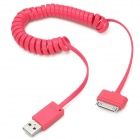 Flat Spring 30-Pin Male to USB 2.0 Male Data Sync / Charging Cable for iPhone 4 / 4S - Deep Pink