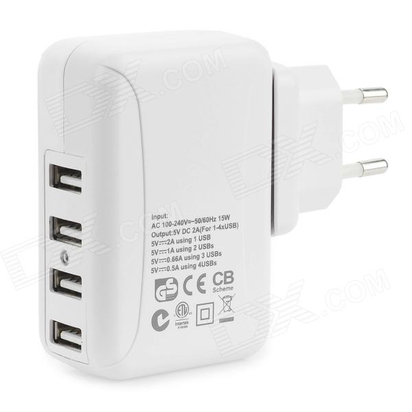 AC100~240V EU Plug Power Adapter w/ 4-USB Port for IPHONE, IPAD -WhiteAC Chargers<br>ModelsiPhoneQuantity1MaterialPVCForm  ColorWhiteCompatible ModelsIPHONE 5Power AdapterEU Plug,Without Power AdapterInput100~240VPacking List1 x Charger<br>