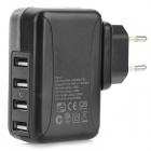 10W 100~240V EU Plug Power Adapter w/ 4 USB Ports for Iphone 5 / Ipad MINI - Black