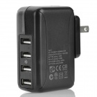 10W US Plug AC 100~240V Power Adapter w/ 4 USB Ports for Iphone 5 / Ipad MINI - Black