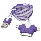 Flat 30-Pin / Micro USB / Lightning 8-Pin Male to USB 2.0 Male Data Sync / Charging Cable - Purple