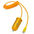 OCM-33 Car Charger w/ Spring Lightning 8-Pin Cable for iPhone 5 / iPad 4 - Yellow (12~24V)