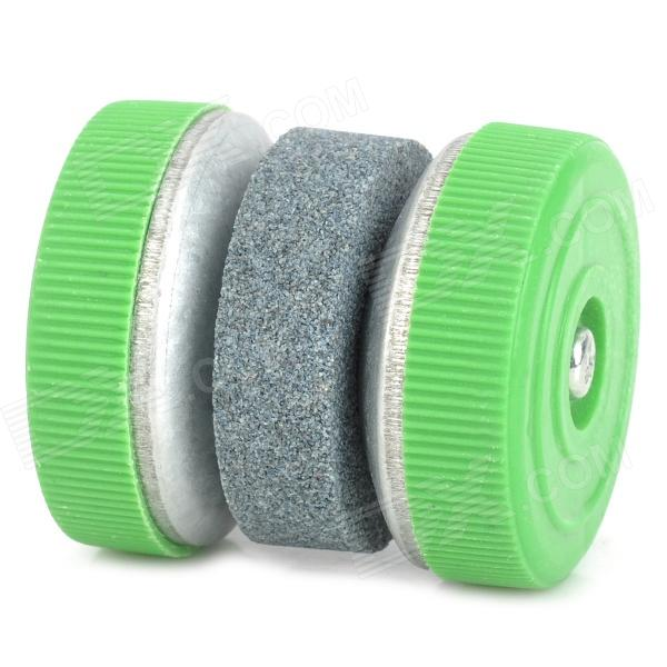 Y-006 Creative Round Kitchen Knife Whetstone - Grey + Green a suit of retro colored round bracelets for women