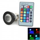 Matte E27 3W 1-LED RGB Colorful Light Spotlight w/ Remote Control - Black (1 x CR2025)