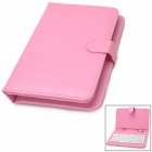 "USB 80-Key Keyboard w/ PU Leather Case for 7"" Tablet PCs - Pink + White"