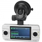 "2.7"" LCD CMOS 3.0 MP / 1.3MP Wide Angle Dual Camera + Rearview Car DVR Camcorder w/ 4-LED / G-Sensor"
