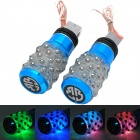 Universal Waterproof Aluminum Alloy DIY Motorcycle Foot Pegs w/ 3-LED - Blue + Black (2 PCS)