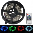 144W 6000lm 600-5050 SMD LED RGB Light Lamp Strip w/ RF Receiver - Black + White (5m)