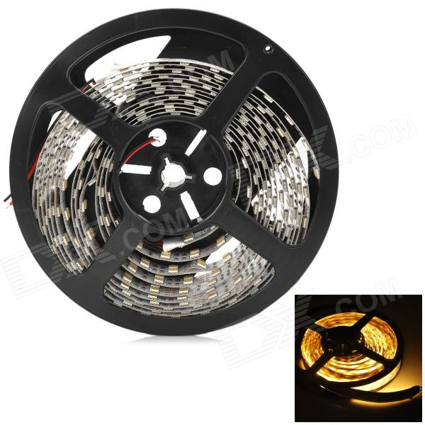 144W 6000lm 3500K 600-5050 SMD LED Warm White Light Lamp Strip - Black + White + Yellow (5m)