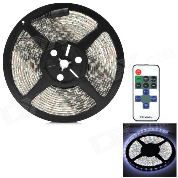 72W 3600lm 6500K 300-5050 SMD LED White Light Lamp Strip w/ RF Dimmer - Black + White + Yellow (5m) zdm waterproof 72w 200lm 470nm 300 smd 5050 led blue light strip white grey dc 12v 5m