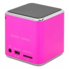 Music Angel MD07D Portable TF Card MP3 Speaker w/ FM - Deep Pink + Silver + Black (32GB Max.)